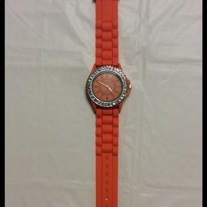 Geneva Orange Silicone Watch